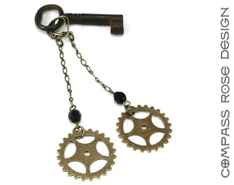 Industrial Gear Earrings - Brass Bicycle Sprocket Gear - Long Dangle Earrings - Black