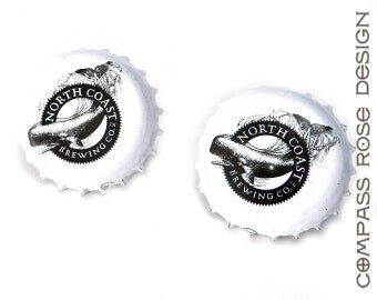 SALE Upcycled Beer Bottlecap Cufflinks Recycled Black and White North Coast Brewing Whale Tail Cuff Links handmade by Compass Rose Design