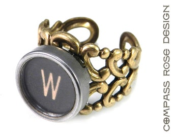 Steampunk Typewriter Letter Ring - Steampunk Ring -  Letter W Ring - Name Ring - Custom Initial Ring - Brass Adjustable Ring