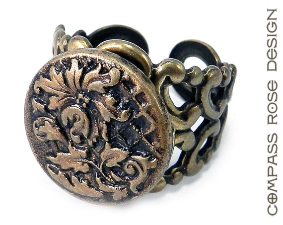 Victorian Jewelry, Victorian Button Ring - Antique Gold Flowers Cut Steel Blossom Antique Button on Brass