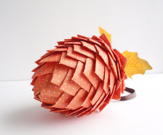 Pine Cone Hanging Ornament - Thanksgiving, Fall, Autumn Paper- Orange and White Polka Dots