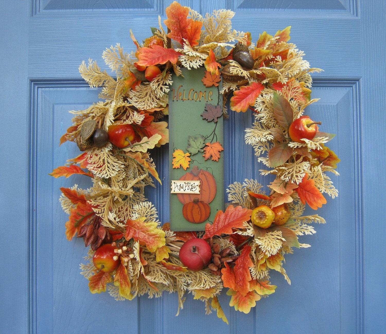 Pumpkin Front Door: Fall Welcome Pumpkin Floral Front Door Wreath Or By