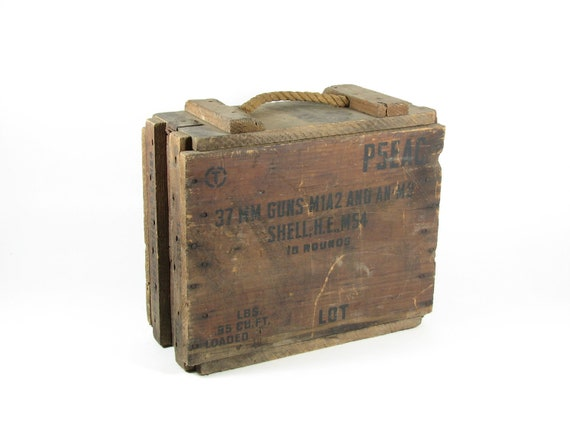 Ammunition Crate Vintage WWII Wood Ammo Box 37MM Gun M54 Shells 1940s Wood Crate With Lid