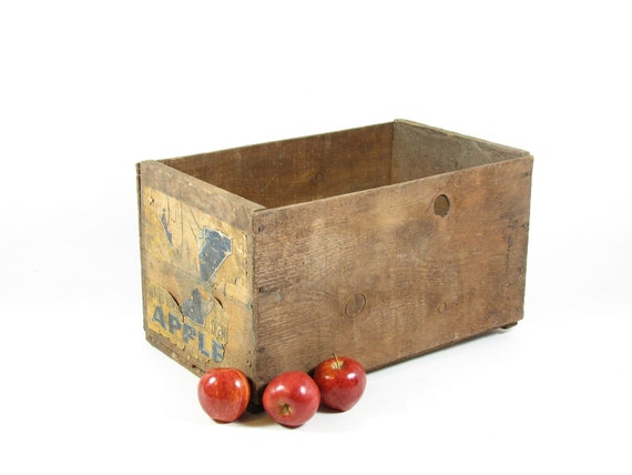 Vintage Wood Crate Wooden Box Produce Fruit Crate Advertising Apple Tote Paper Label Yakima WA