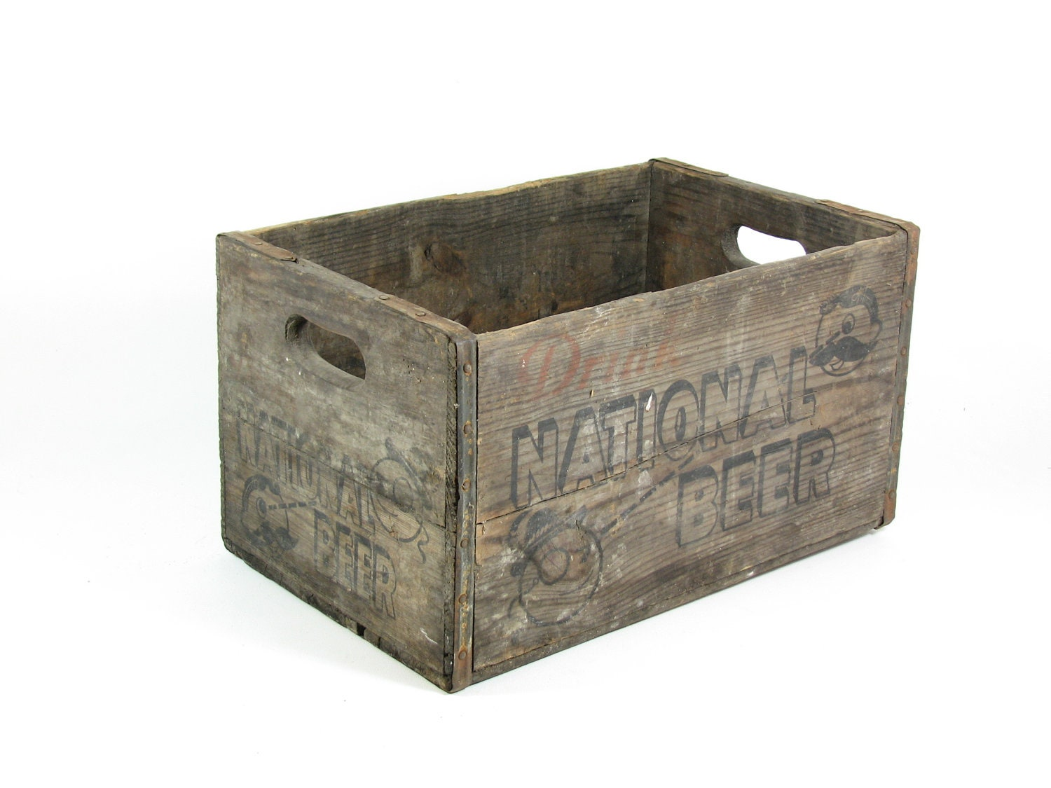 Vintage wood beer crate wooden box national beer for Old wooden crates