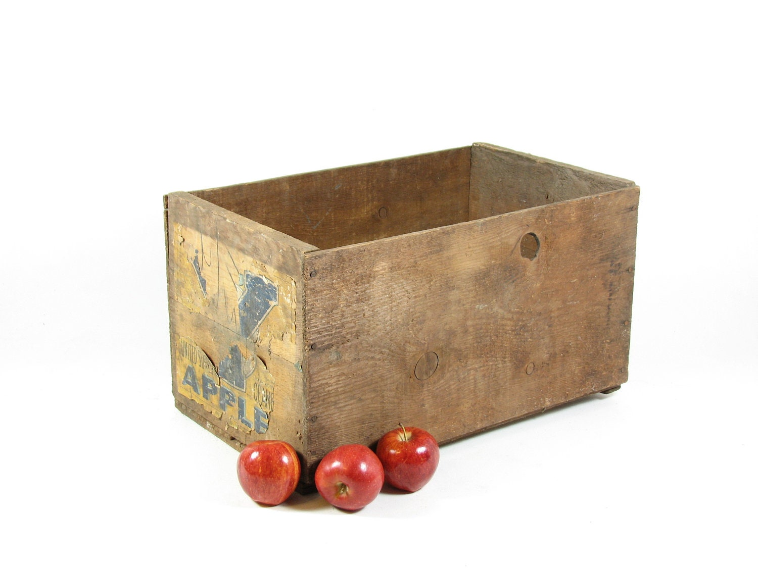 Vintage wood crate wooden box produce fruit crate advertising for Wooden fruit crates