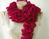 Magenta pink knit scarf  frilly ruffled  Spring fashion spring accessories Valentines day