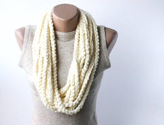 Infinity chain scarf white crochet scarf circle loop neckwarmer Spring accessories Fall fashion