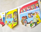 CARS AND TRUCKS Vintage Little Golden Book Repurposed  Eco friendly Bunting Banner Children boys party decoration nursery decor