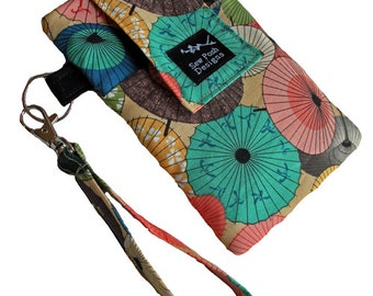Parasols Umbrellas Asian Oriental Japanese Fabric Iphone Galaxy Smartphone Cell Phone Camera Wristlet Key Fob Case Zipper Pocket Washable