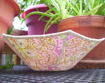 Handmade pink and green  fabric bowl for decorative use