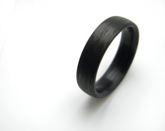 Custom Carbon Fiber Ring in 'Wood-Like' Grain, 6mm YOU CHOOSE SIZE