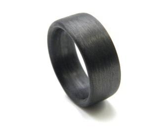Custom Carbon Fiber Ring in 'Linear' Grain, 9mm YOU CHOOSE SIZE