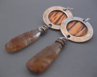 Sterling Silver and Copper Disk with Copper Rutilated Quartz Long Drops