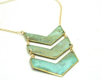 Triple Chevron Patina Necklace