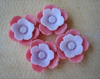 4PCS - Shabby Daffodil Cabochons - Resin - Lilac on Pink - 12mm - Cabochons by ZARDENIA