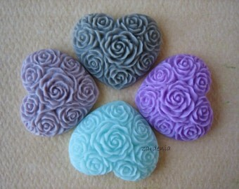 4PCS - Heart Flower Cabochons - Resin - Cool Pastels - 19x21mm - Cabochons by ZARDENIA