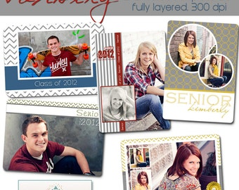 INSTANT DOWNLOAD - Seniors - Varsity Wallet Collection- Set of 5 custom photo templates