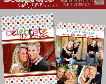 Celebrate Christmas Card 2- double sided 5x7 card template
