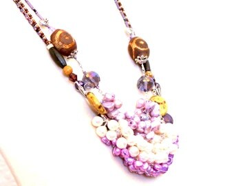 pearl wrapped necklace. beaded pearls purple / sterling silver gift / wire wrapped / tribal brown and purple / silver hearts