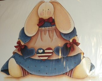 Ragamuffins 1991 Patriotic Bunny Rabbit Iron-On Transfer New/Old in Package