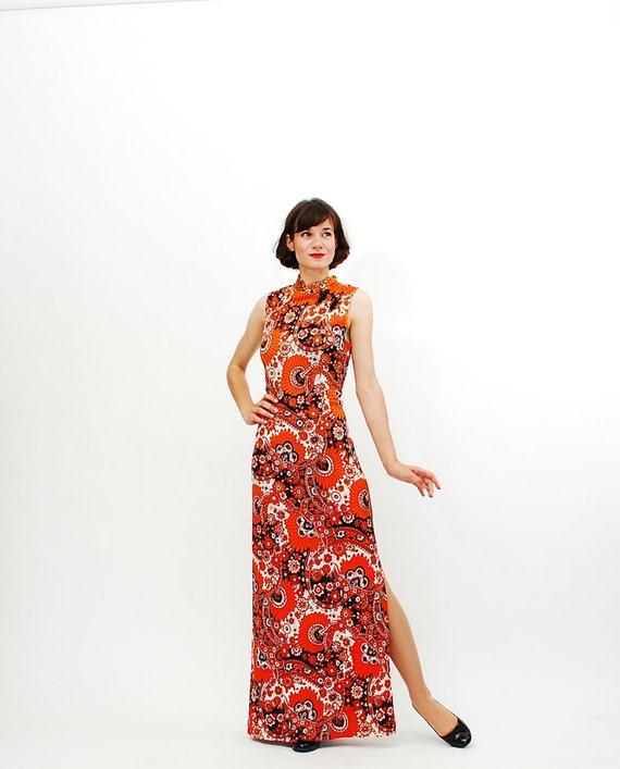 Vintage 1970s Maxi Dress - 70s Cheongsam Dress - Orange & Black Asian Print