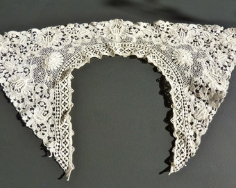 Antique Lace Collar Embroidery on Net Lace 1920's Era Dress Lace Collar French Embroidery Lace Collar Off White 19 x 11 inches