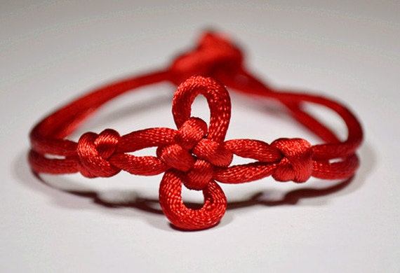 Red Chinese Knot Bracelet- The Shamrock Knot-made to order