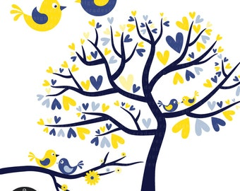 Love Birds in Sailor Blue and Bright Yellow - Digital Clip Art