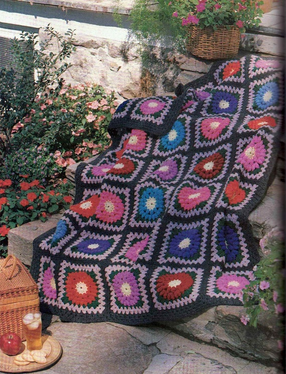 Vintage Crochet Pattern Granny Square Blanket Afghan Throw PDF241