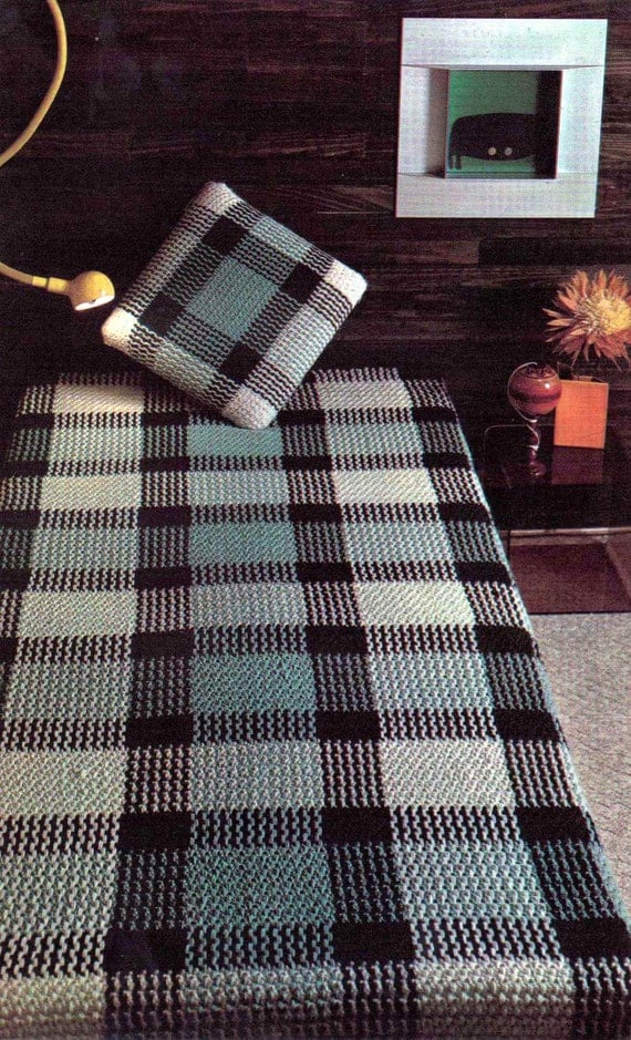 Vintage Crochet Pattern PDF 249 Tartan Plaid Bedspread Cushion Cover