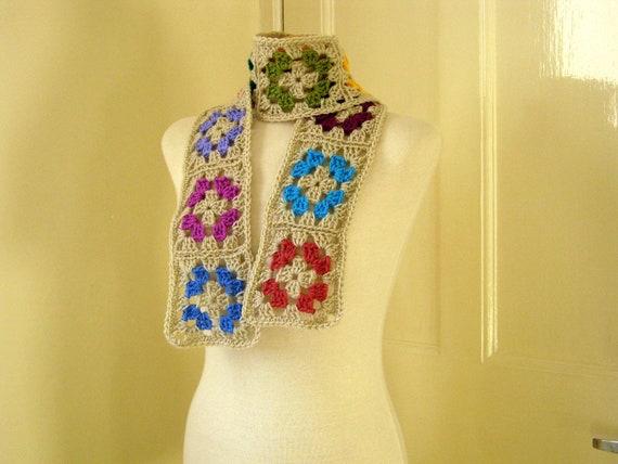 Parchment Traditional Granny Square Crochet Scarf