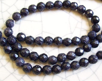 Blue Goldstone Faceted Beads - 8mm - 10 beads