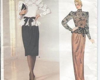 Vintage 1980s VOGUE American Designer KASPER Sheer Top and Dress Sewing Pattern - Size 10