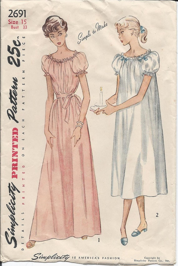 RESERVED - 1940s Vintage Jr. Misses' CHEMISE-Style NIGHTGOWN in Two Lengths Sewing Pattern - Bust 33 Inches