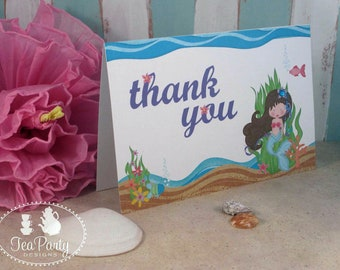 Mermaid Party Custom Thank You Notes - Blue Lagoon Collection