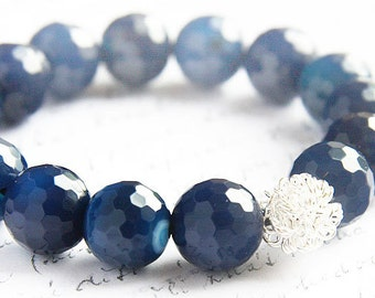 Royal Blue Agate Bracelet Sterling Silver Wire Bead Stacking Bracelet Dark Blue Faceted Stones Natural Stone Bohemian jewelry trend 2017