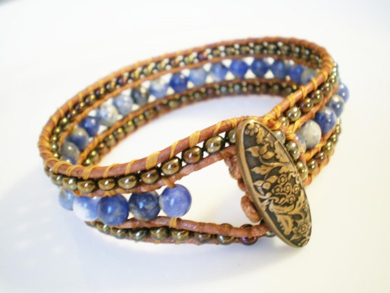 Beaded Leather Cuff Bracelet Hand Woven Bright Blue