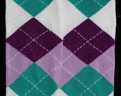 CLEARANCE SALE Purple Teal White & Light Purple Argyle Leg Warmers with White Stitching Fits Infants Toddlers and Children