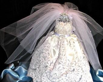 Bridal shower centerpiece Bride in Bridal gown, wedding dress shower decoration, reception centerpiece  bridal bouquetsl, rhinestones