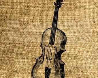 INSTANT DOWNLOAD - Violin Vintage Illustration - Download and Print - Image Transfer - Digital Sheet by Room29 - Sheet no. 1056
