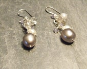 Cascade earrings with Sterling silver, Freshwater Pearls and Tanzanite