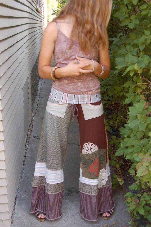 Eco Gaucho Pants, patchwork clothing, upcycled clothing, yoga ,boho,festival, wide leg, shabby  chic, size M, by Zasra