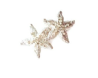Rhinestone Starfish Hair Clip Silver Bridal Barrette Bride Bridesmaid Mermaid Destination Beach Wedding Accessories Womens Gift For Her