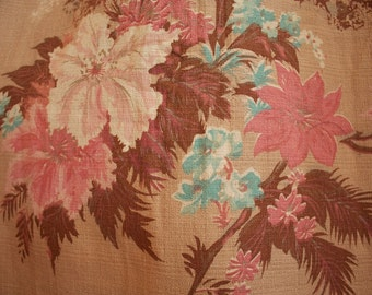 Vintage 1940s Small BARKCLOTH Curtain Panel with PINK and Blue HIBISCUS Flowers