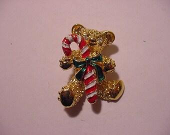 Vintage Teddy Bear And Candy Cane Christmas Brooch   XMAS - 438