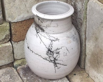 Hand Thrown Original Pottery Vase with Horse Hair Designs