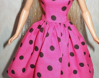 "Handmade 11.5"" fashion doll clothes - Pink and black polka dot dress"