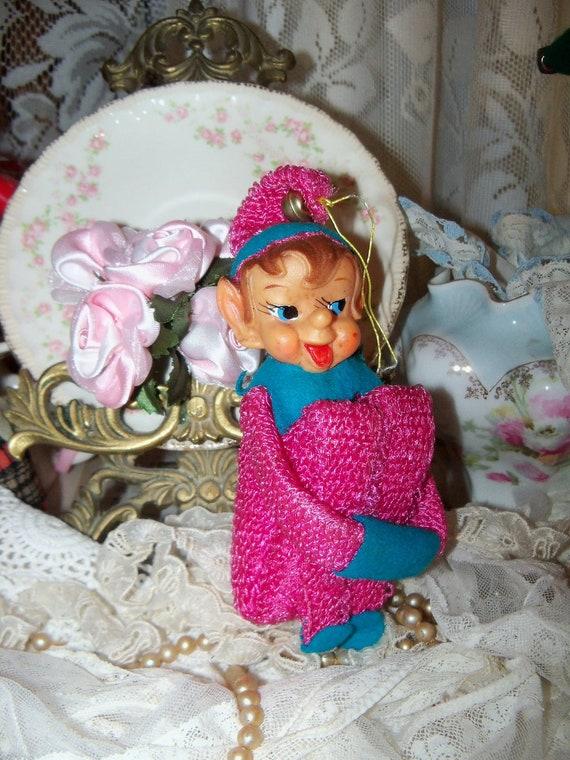 Vintage Christmas-Sweet Old Pixie Knee Hugger Elf-Ornament-Old Stock-Stripes-Bells-Japan-RARE-Hot PINK