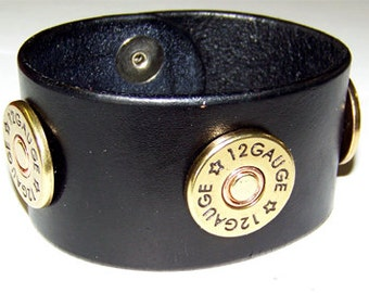 Item 090112 Shotgun Shell Leather Bracelet